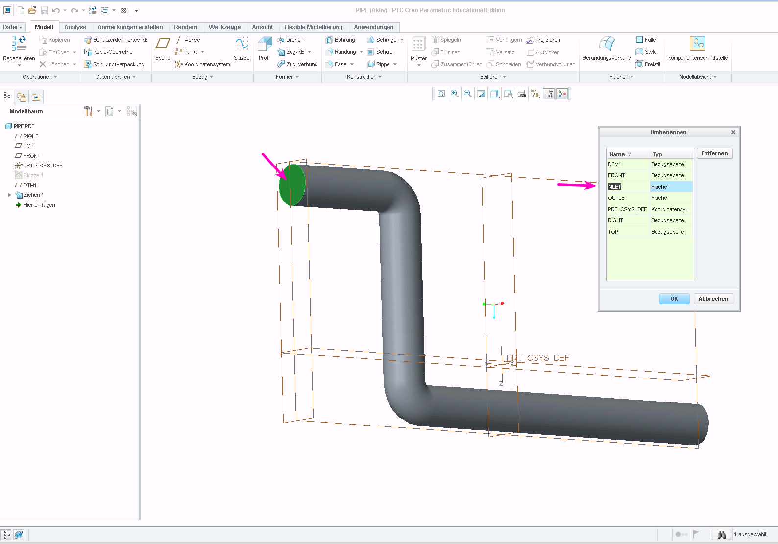 PTC Creo assign name to face or surface