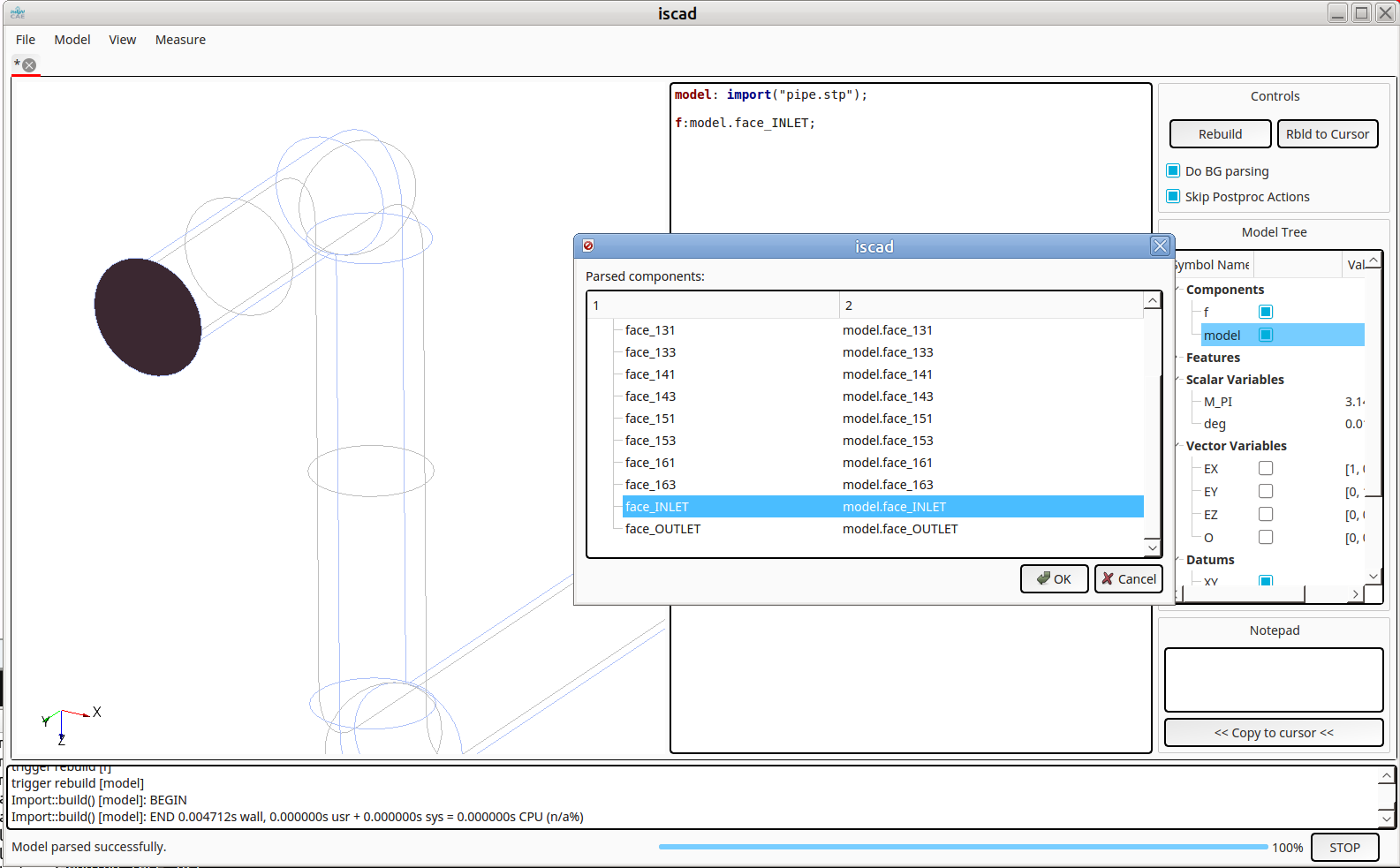 InsightCAE ISCAD import STP with named faces
